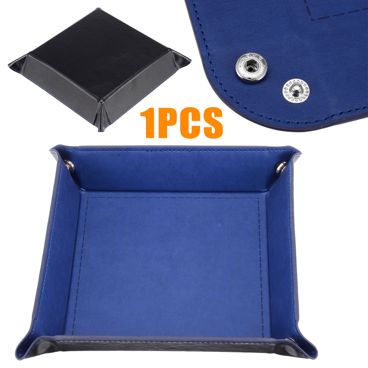 High Quality New 1pc Blue Dice Foldable Storage Box Dice Table Games Key Wallet Coin Box Tray Desktop Storage Box