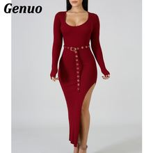 Genuo knitted sweater bodycon long winter dresses women autumn o neck sleeve sexy maxi dress elastic spily slim party