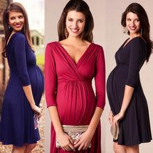 Новые женские трикотажные платья с рукавом три четверти для беременных и мам, модное стрейчевое платье