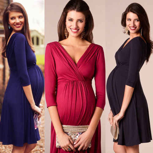 New Women Three Quarter Sleeve Knit Maternity Dresses Pregnant Mother Fashion Stretch Dress