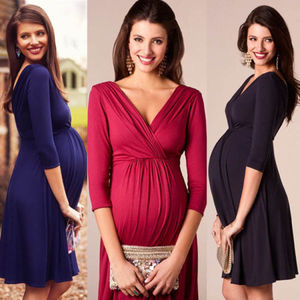 New Women Three Quarter Sleeve Knit Maternity Dresses Pregnant Mother Fashion Stretch Dress(China)