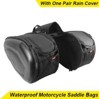 Waterproof Motorcycle Saddle Bag Racing Moto Helmet Bags Travel Luggage Saddlebags+One Pair Rain Cover And Plastics