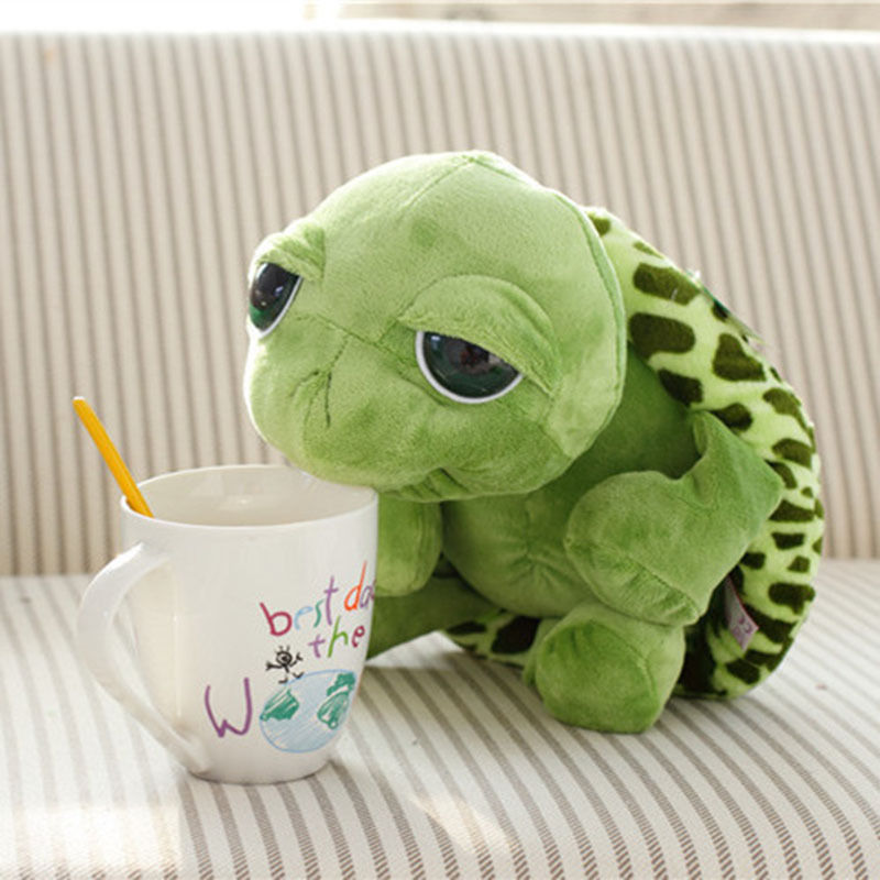 Pudcoco 1PC 20cm Super Green Big Eyes Stuffed Tortoise Turtle Animal Plush Baby Toy Gift