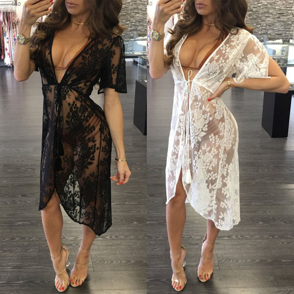 New Women Lace Crochet Summer Beach Bikini Cover Up Long Swimwear Dress Bathing Suit See-through Floral Holiday Soft Swimsuit