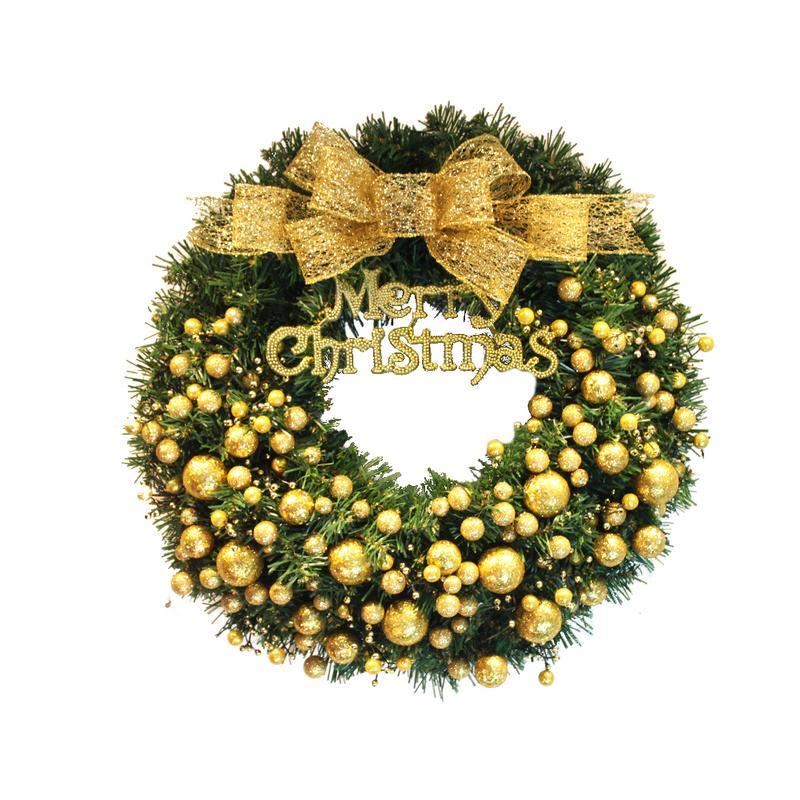 40 cm guirlande de noël porte pendentif décoration de noël pour la maison de noël fête fournitures arc rouge or couronne ornement