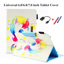 Tablet 7 inch Case Cover Universal New Cover Cartoon Case For Tablet 6.0/6.8/7.0 inch For Cute E-Books For Samsung 7inch PC+Gift kefo universal cover for prestigio multipad grace 3118 pmt3118 3318 pmt3318 3g 8 inch tablet zipper nylon tablet covers case