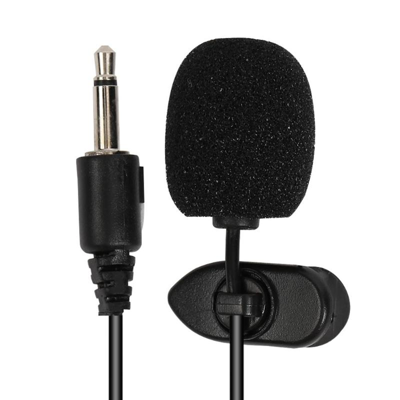 ALLOYSEED  Mini 3.5mm Jack Wired Microphone Clip-on Collar Lapel Lavalier Mic For Phone Laptop Car Handsfree External Microphone