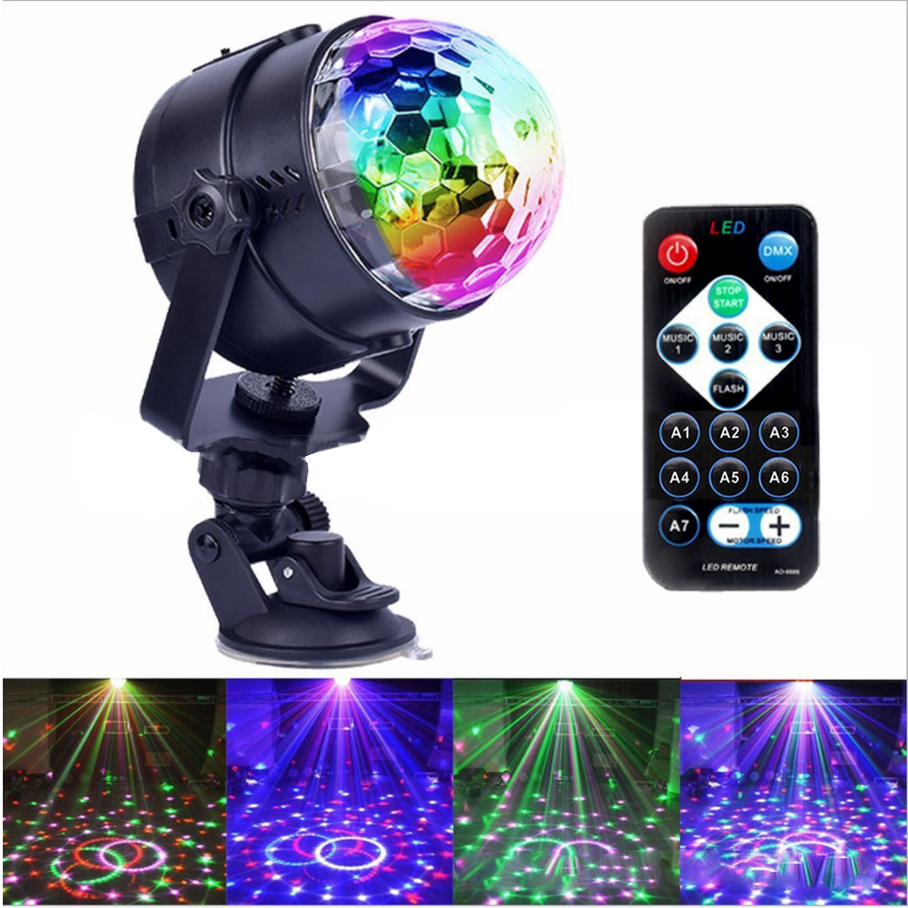 Tanbaby Sound Activated UV Disco Lights Rotating Ball Lights USB Car 3W RGB LED Stage Lights For Christmas 110V 220V EU US AU UK