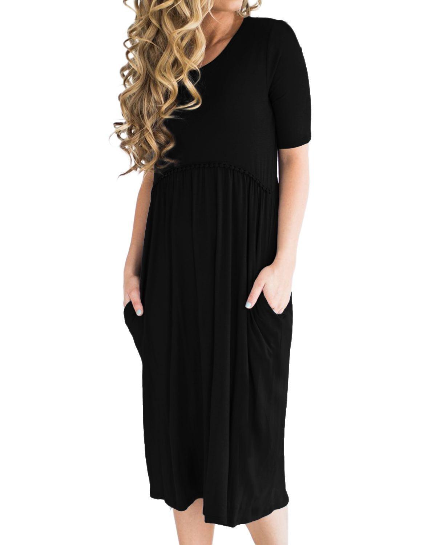 Women Vintage Dresses 2020 Summer Casual Loose Elegant O Neck Short Sleeve High Waist Knee-length A-line Party Dress Vestidos