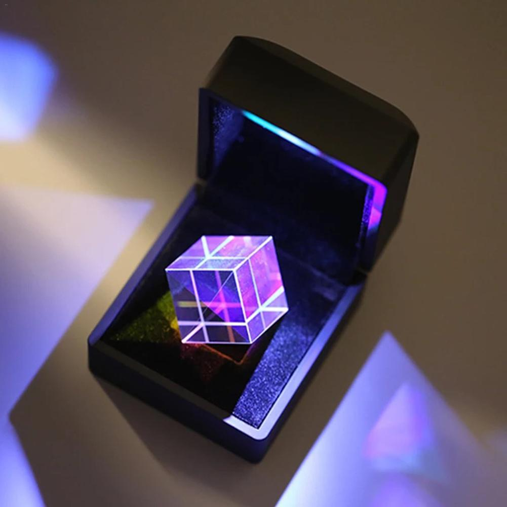 Color-collecting Prism 6-sided Light Cube With Light Box Color Prism Square Prism Optical Glass Lens Experiment Instrument