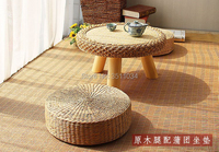 Asia style Japanese style Rattan Round Table Traditional Asian Furniture for balcony Living Room Low Floor Coffee Table Wooden