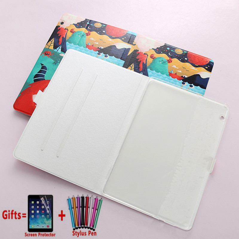 Case For Huawei Mediapad T5 10 Cases AGS2-W09 AGS2-L09 AGS2-L03 10.1'' Tablet Flip PU Leather Fashion Painted Cover Funda + Flim