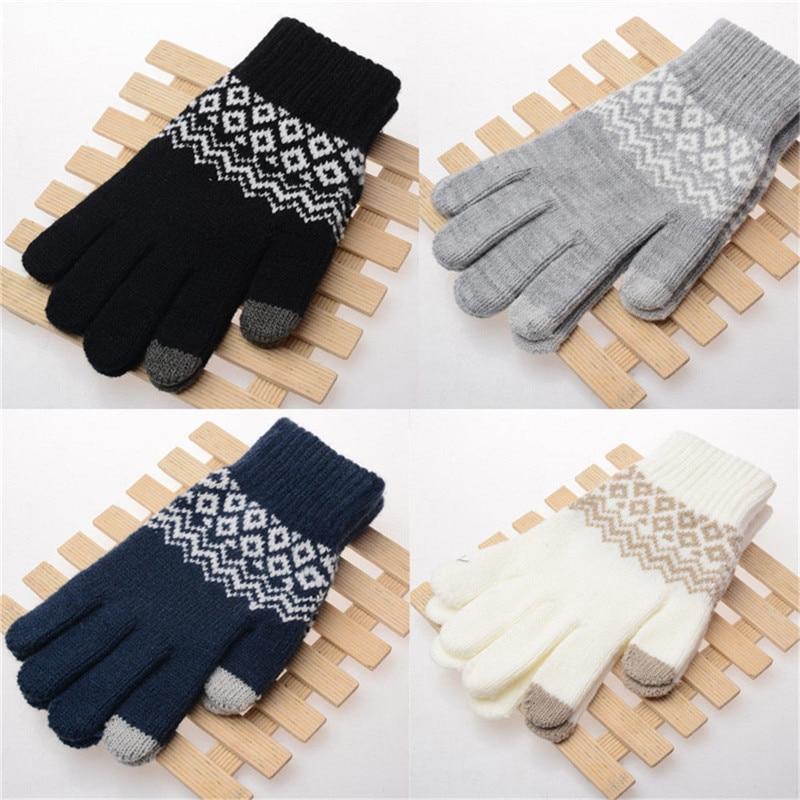Fashion Winter Warm Touch Screen Cotton Wool Wrist Gloves Women Men Unisex Adult Mittens Glove For Mobile Phone