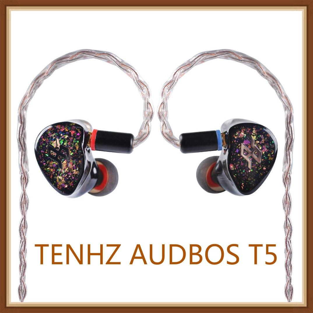 TENHZ AUDBOS T5 5BA dans l'oreille écouteur Armature équilibrée HiFi moniteur de musique DJ dans l'oreille écouteurs avec MMCX mise à niveau câble P4 Z1 DM6