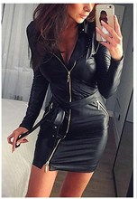 Women Fashion Sexy Black Skinny Party Dresses Ladies Zipper PU Mini Bodycon Club Dress Soft