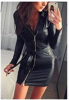 Women Fashion Sexy Black Skinny Party Dresses Ladies Zipper PU Mini Bodycon Club Dress Soft Dresses
