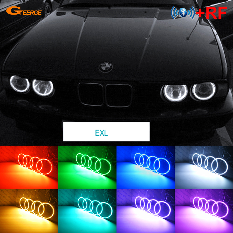 For BMW E30 E32 E34 Excellent RF Bluetooth Controller Multi Color Ultra bright RGB LED Angel Eyes Halo Ring kit-in Car Light Assembly from Automobiles & Motorcycles    1