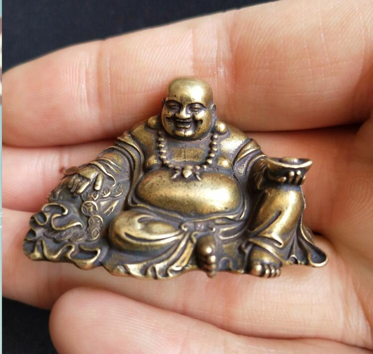 Chinese Pure Brass Maitreya Buddha Small Statue