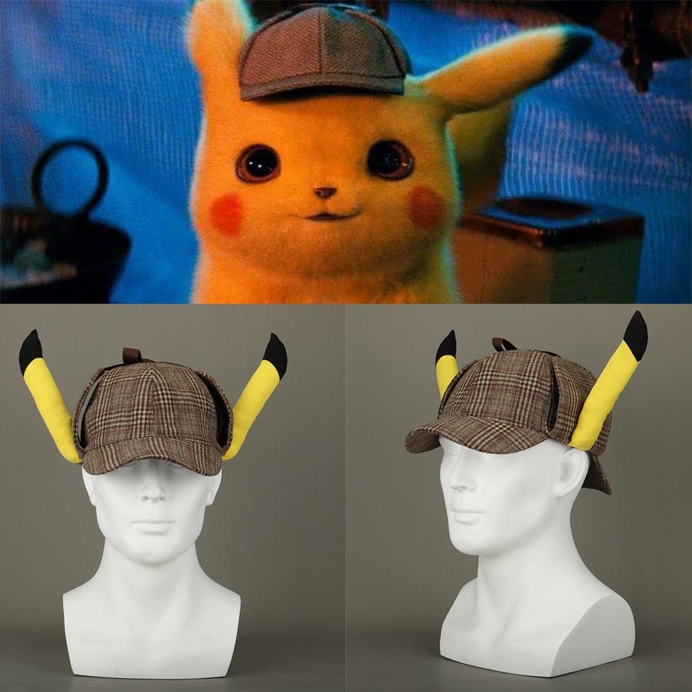 Pokemon Detective Pikachu Movie Plush Ears Hat Cap Cosplay Costume Halloween NEW