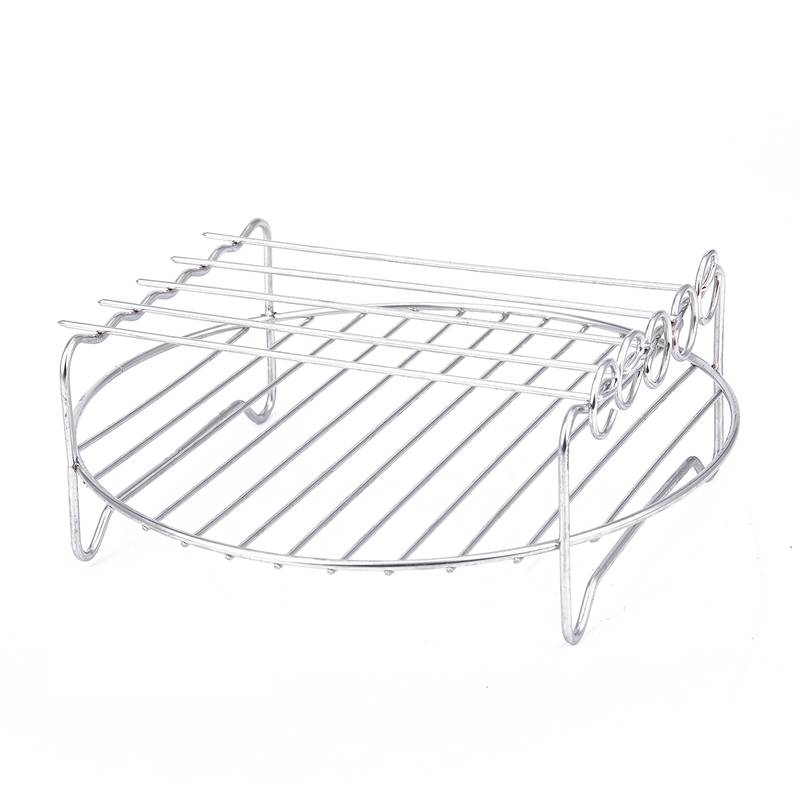 Double Layer Rack Accessory With 5 Skewers, For Airfryers