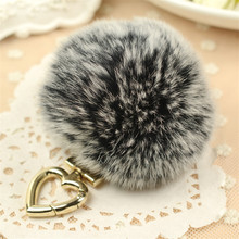 цена  Fluffy Pom Pom REX Rabbit Real Fur Keychain Fur Ball Puff bag charm keyring Key chains Gold Hardware Heart Handbag Accessory онлайн в 2017 году