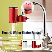 3000W Kitchen Bathroom Instant Electric Water Heaters Water Tap Faucet Heater Smart Digital Display Heating Appliances White/Red