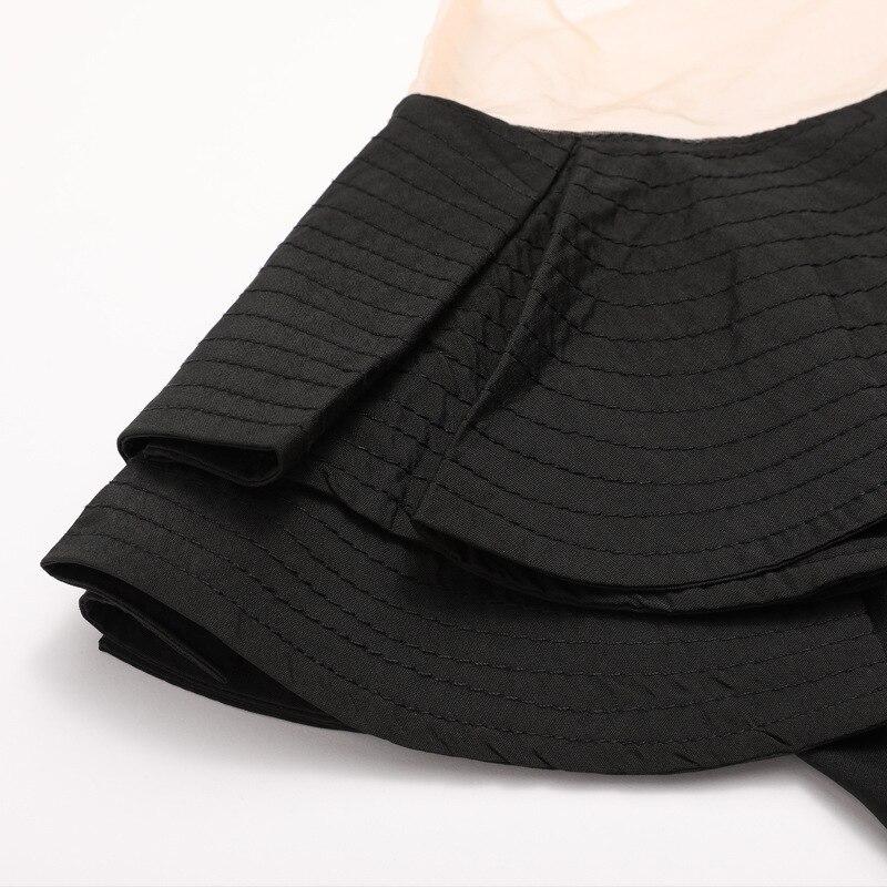 S En Otoño Sexy Lado V Tops Conjunto Slim Hoja De Blusas Negro Loto Dividir l Y Primavera blanco Cuello Gasa Mujer blanco Para Manga Larga Negro 2778 xg5wEICqq