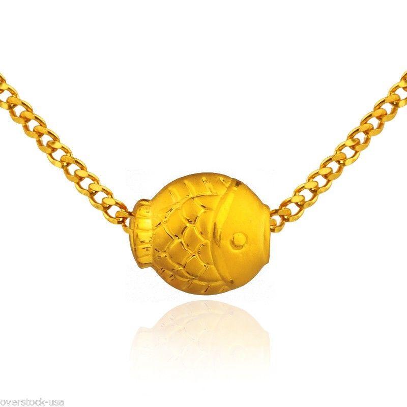 1PCS J.Lee Pure 24K Yellow Gold Pendant / 3D Lovely Fish Pendant 1.55g
