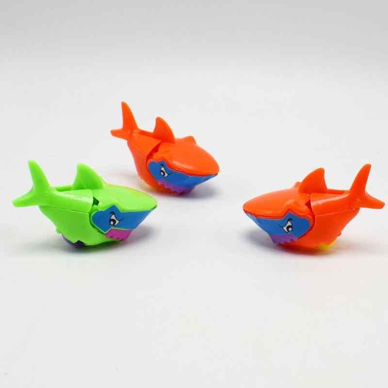 1 pc Mini Bonito DIY Tubarão Toy Kids Educacional Blocos de Construção Tijolos Montar Rolamento Da Roda Simulação Tubarão Brinquedos Cor Aleatória