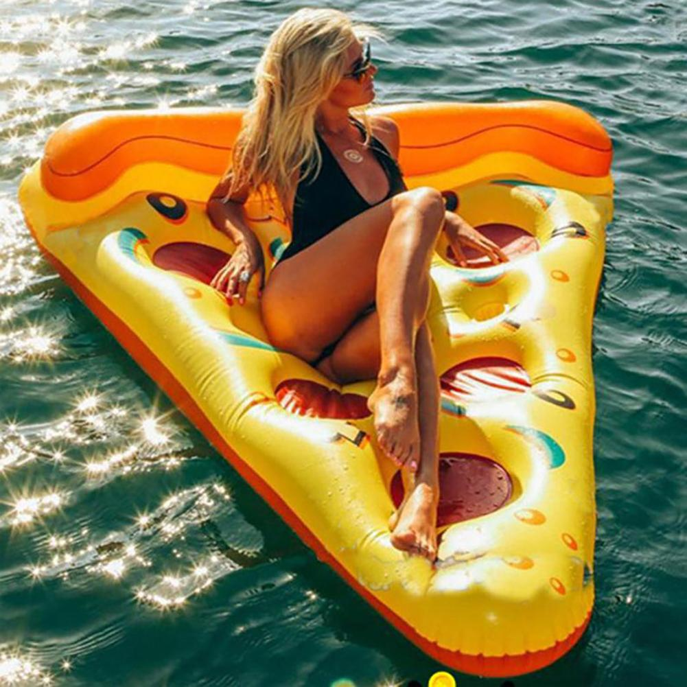 180cm Summer Inflatable Lovely Pizza Shape Swim Pool Floats Raft Air Mattresses Swimming Fun Water Sports Beach Toy For Adult