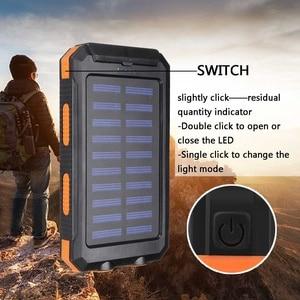 Image 4 - Водонепроницаемый портативный внешний аккумулятор на солнечной батарее, 20000 мач, зарядное устройство на солнечной батарее для сотового телефона, зарядные порты с двумя USB портами, светодиодная подсветка, карабин, компас