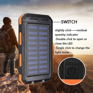 Image 4 - 20000mAh Waterproof Portable Solar Power Bank Cell Phone Solar Charger Dual USB Charging Ports LED Light Carabiner Compasses