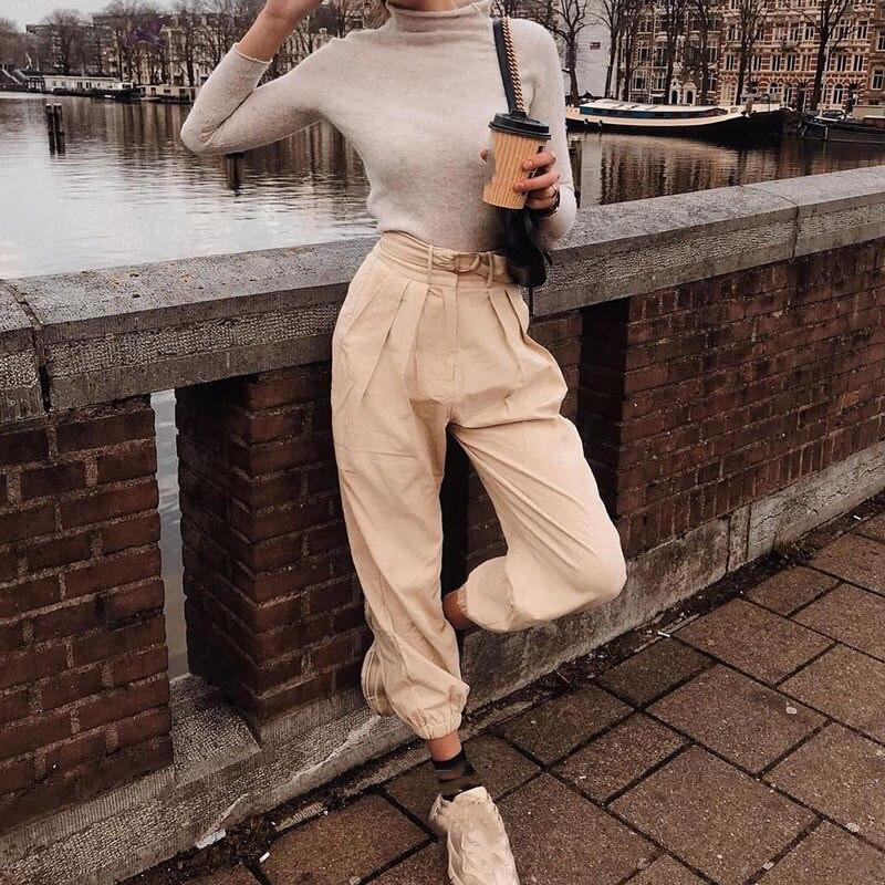 Streetwear Cargo   Pants   Women Casual Joggers Sashes High Waist Loose Female Trousers Ladies   Pants   Pantalon Femme