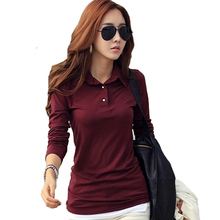 a2d0813edd359 Spring Autumn Casual Polos Women New Long Sleeve Slim Polos Mujer Black  White Red Female Women