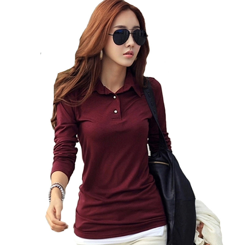 Spring Autumn Winter Casual Polo Women New Long Sleeve Slim Polos Mujer Black White Red Women Tops For Lady Polo Shirt Female