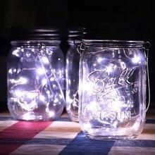 Garden LED String Christmas Glass Mason Jars Solar Light LED Fairy Light D25 2m 20 led solar solar led string light mason jar lid lamp xmas outdoor garden decor christmas holiday decoration lamp 1567