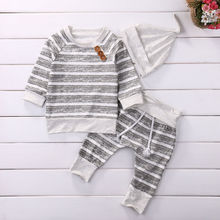 3pcs Stripe Sweatshirt Pant with Hat Clothes Set