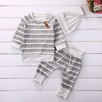 3 piece Long Sleeve Stripe Buttons Decor Sweatshirt Top, Striped Trousers and Hat