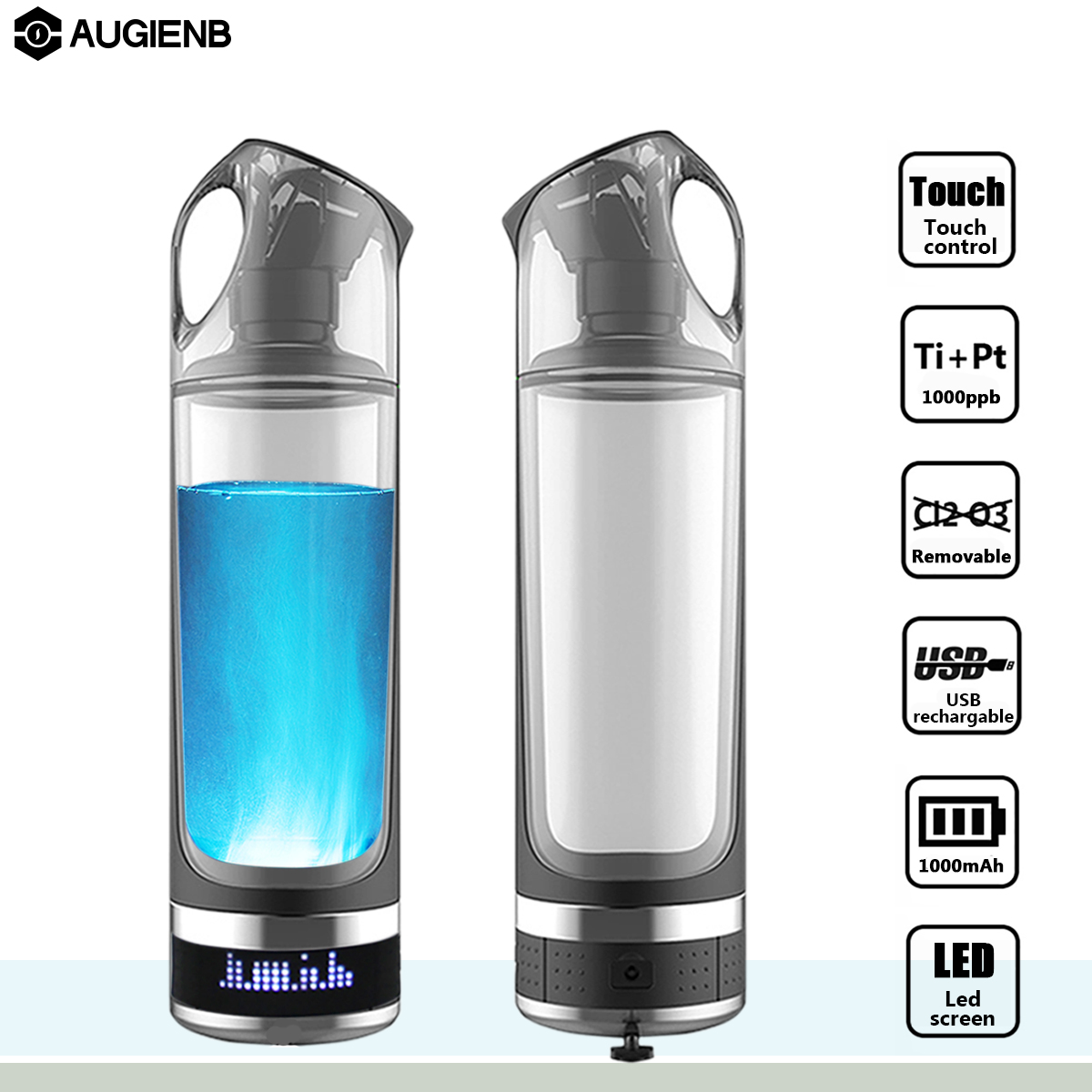 Augienb Healthy Anti-Aging Hydrogen Rich Water Bottle Generator 500ML LED Display Hydrogen Rich Water Maker Ionizer BPA-free