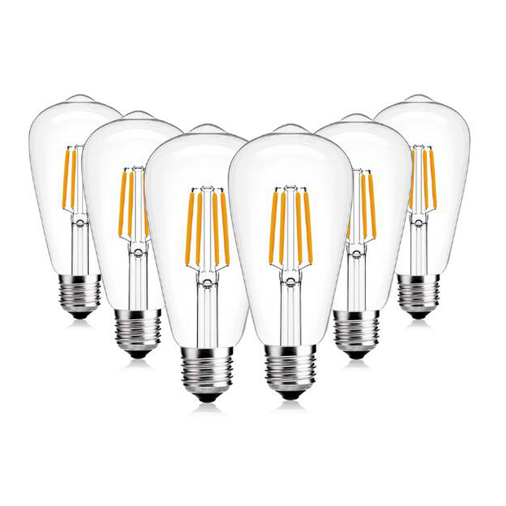 SHINA 6W 4000K 110V/ 220V Deep Dimming ST64 Edison LED Light Bulb E26/E27 Base Light Bulbs 6 Pack