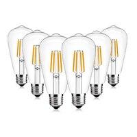 SHINA 6W 4000K 110V/ 220V Deep Dimming ST64 Edison LED Light Bulb E26/E27 Base Light Bulbs 6 Pack