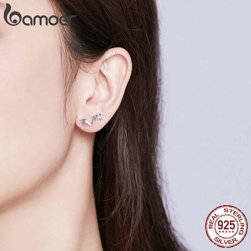 BAMOER MẠ 2019 Thời Trang Bông Tai Nữ Bạc 925 Vintage Nàng Tiên Cá Hình Bông Earing cho Nữ Tai Tặng Pin cho Bé Gái SCE588