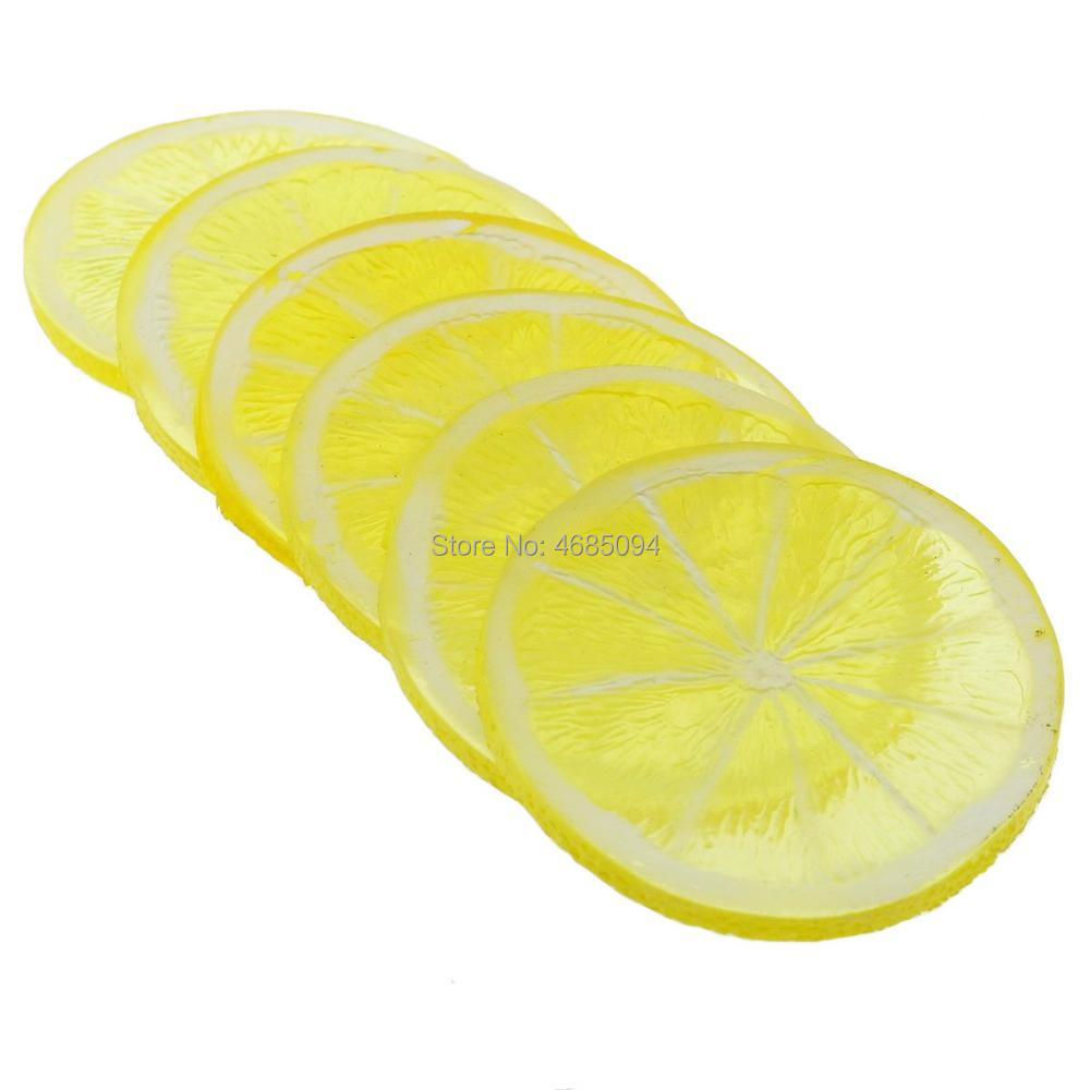 Gresorth 6pcs Highly Simulation Fake Yellow Lemon Slice Artificial Fruit Model Home Party Decoration in Artificial Fruits from Home Garden