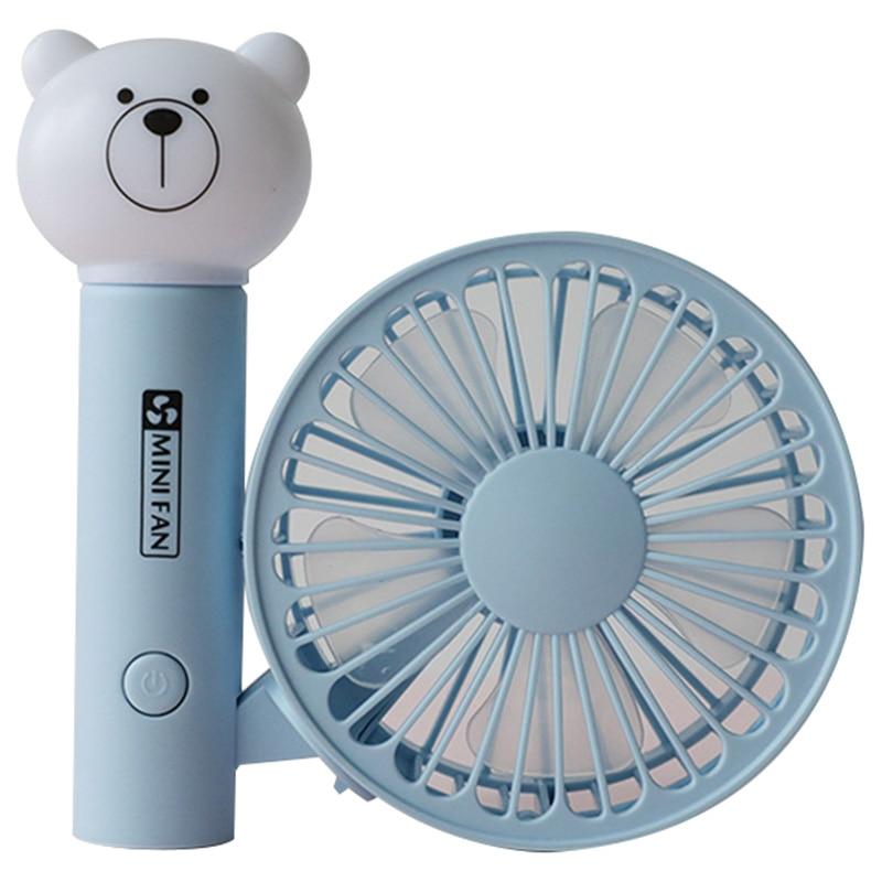 Portable Handheld Fan Summer Home Small Fan Cute Cartoon Bear Usb Charging Fan Study Table Lamp Fan Fans     - title=