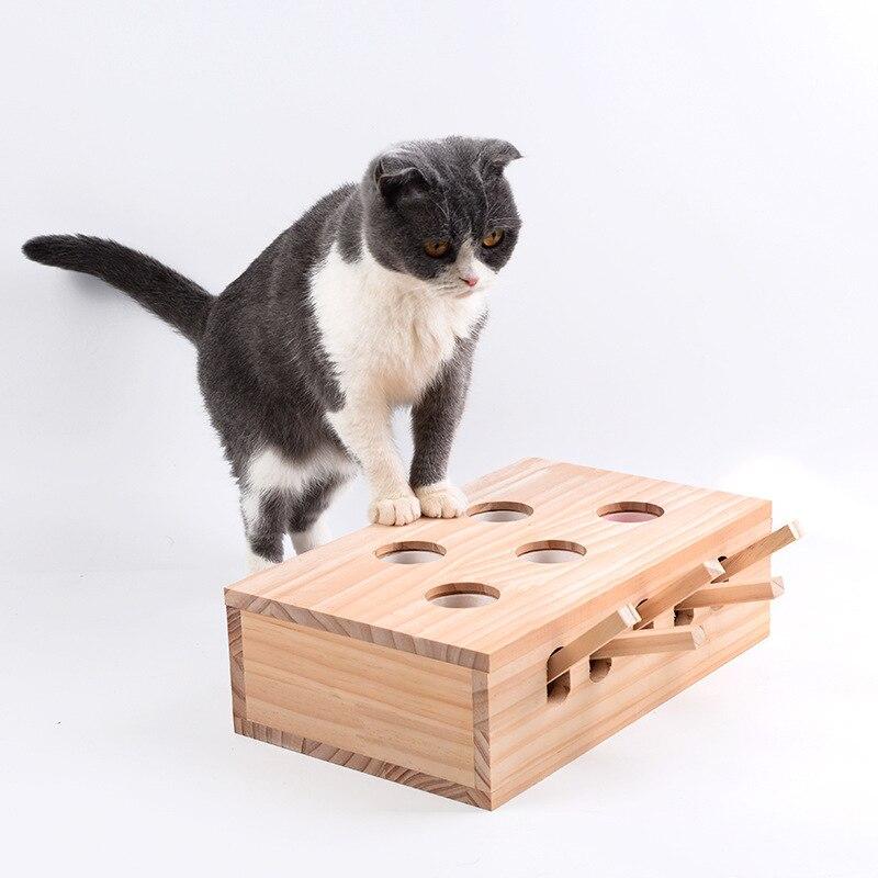 Chat en bois frappé Gophers jouets interactif attraper souris jeu drôle plate-forme taquine chat jouets chat poinçon griffoir chats jouer boîte CW214
