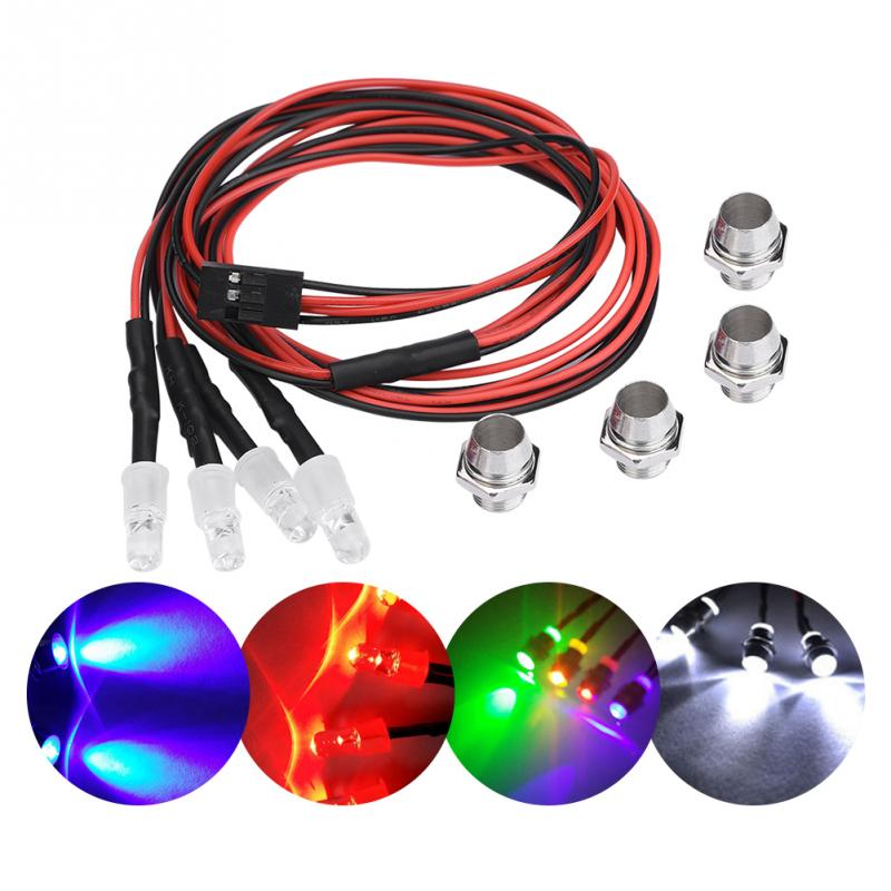 4PCS 5mm Headlights RC Accessory LED Lights for Model Drift Car Vehicle White Colors Blue Red Light Rubber + Plastic RC Part(China)