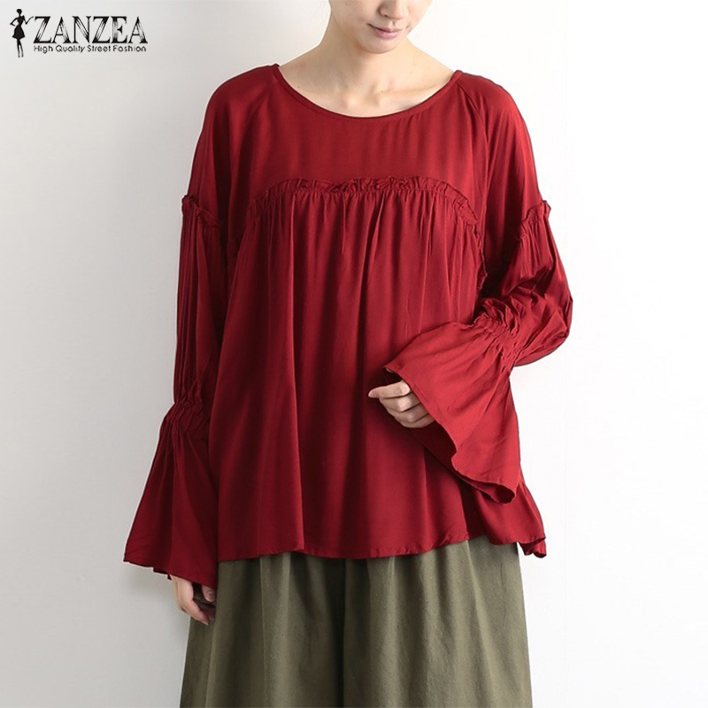 ZANZEA Women Blouse Tops Shirt Ladies Blusas Casual Ruffles Long Sleeve Chic Shirts Elegant Pleated Work Office Blouse Plus Size