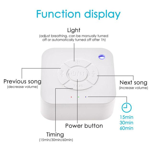 White Noise Machine USB Rechargeable Timed Shutdown Sleep Sound Machine For Sleeping & Relaxation for Baby Adult Office Travel 1