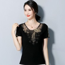 2019 Sexy Women Summer Blouse Casual Lace O Neck Short Sleeve Female Embroider Shirts Tops Ladies Blusas Plus Size 4XL
