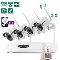 Комплект камеры безопасности грубо 4CH 1080 P NVR Wi Fi 3,6 мм 36LED Водонепроницаемый IP камера США Plug 1 ТБ HDD для внутреннего двора видеоняни и Радионяни